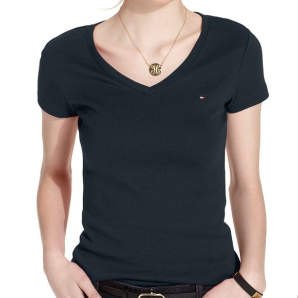 tommy hilfiger black t shirt women's